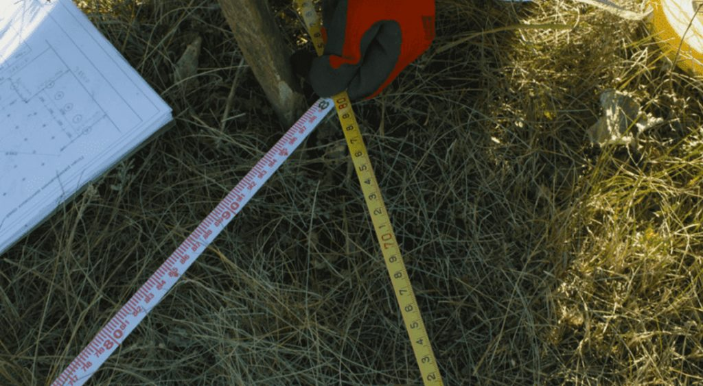 Разметка поля под сваи